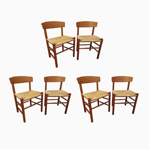 J39 People's Chairs in Oak & Hand-Woven Paper Cord Seat by Børge Mogensen, Set of 6