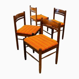 Mid-Century Wenge Wood Dining Chairs, Set of 4