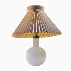 Table Lamp in White Opaline Glass from Holmegaard, 1970s