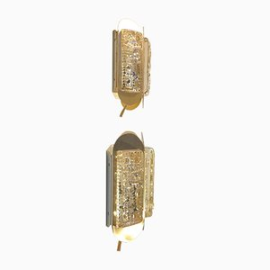 Danish Brass & Glass Wall Sconces from Vitrika, 1960s, Set of 2