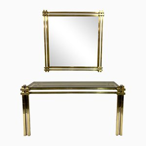 Brass Console Table & Mirror by Romeo Rega, 1970s, Set of 2