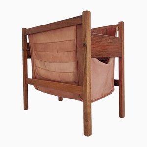 Danish Leather & Rosewood Magazine Rack, 1960s