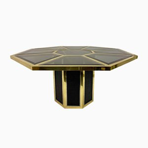 Italian Octagonal Brass and Black Rattan Dining Table by Romeo Rega for Mario Sabot, 1970s