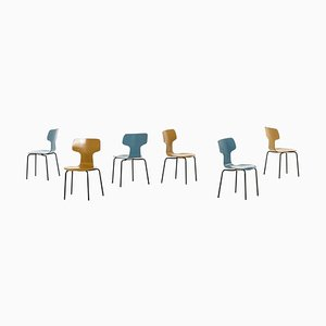 Children T-Chairs by Arne Jacobsen for Fritz Hansen, Set of 6