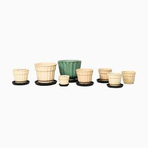 Modell Tellus Vasen oder Pflanzer von Ewald Dahlskog für Boberg Faience Töpferei, 8er Set