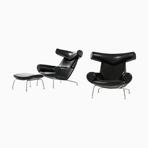 Model Ej-100 Easy Chair and Stool by Hans Wegner for Erik Jorgensen, Set of 2