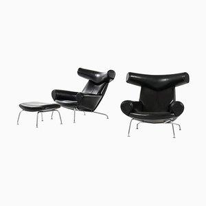 Modell Ej-100 Sessel und Hocker von Hans Wegner für Erik Jorgensen, 2er Set