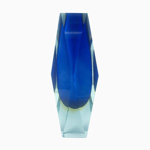 Murano Sommerso Blue and Yellow Faceted Glass Vase from Mandruzzato