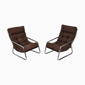 Mid-Century Chrome Armchairs, 1970s, Set of 2