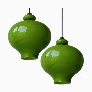 Lampade a sospensione in vetro verde di Hans-Agne Jakobsson per Staff, anni '60, set di 2