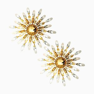 Pair of Stilkronen Crystal and Gilded Brass Italian Flushmount Sconces