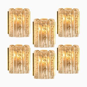 Large Structured Blown Glass and Brass Wall Sconce from Doria, 1960s