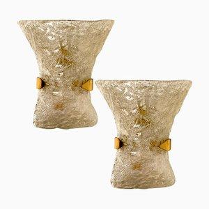Strukturierte Murano Glas Wandlampen aus Messing, 1960er, 2er Set