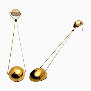 Halogen Vergoldete Tischlampen von Stephano Cevoli, 1980er, 2er Set