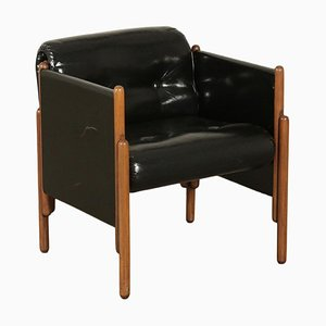 Armchair in Stained Beech & Leatherette, 1960s
