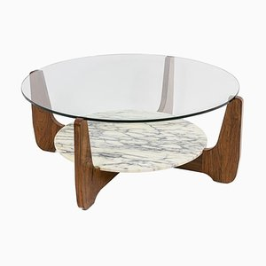Coffee Table in Rosewood, Glass and Marble, 1970s