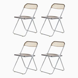 Plia Folding Chairs by Jean Carlo Piretti for Castelli, 1970s, Set of 4