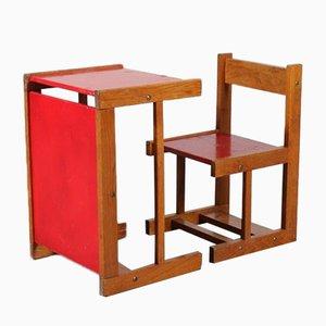 Kinderstuhl mit Tisch, Niederlande, 1950er, 2er Set