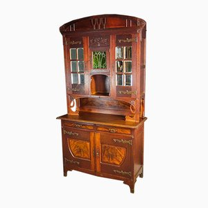 Art Nouveau Cabinet With Stained Glass Window, 1910s