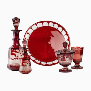 Carved and Engraved Bohemian Crystal Service Set