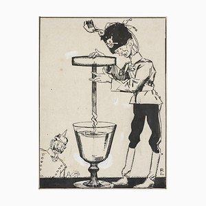 Gabriele Galantara, Hole In the Water, 1910s, Pen Drawing