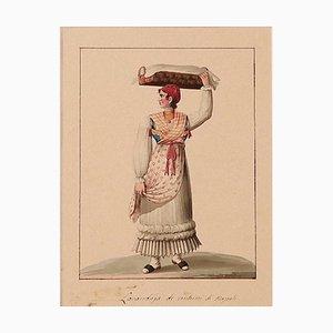 Michela De Vito, Laundress of Naples, 19th-Century, Ink and Watercolor