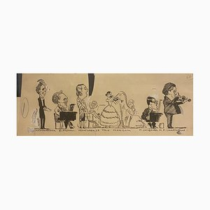 Karikatur, 19. Jh., Tinte auf Papier