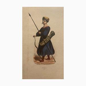 Calmucco, 19th-Century, Watercolored Lithograph