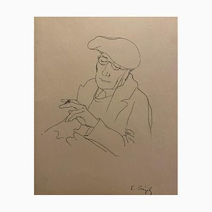 Ritratto di André Gide, inchiostro su base, metà XX secolo