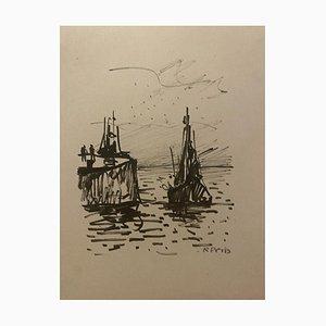 Bateau de Pêche sur la Mer, Début 20ème Siècle, Dessin au Crayon