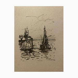 Fishing Boat On the Sea, Early 20th-Century, Pencil Drawing