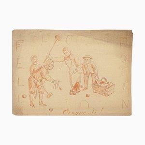 The Croquet, 19. Jh., Bleistift & Pastell auf Papier