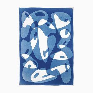 Handgemachte Cyanotypie, 2021, Aquarell auf Papier