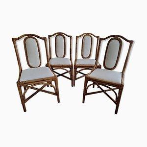 Italienische Vintage Bambus Rattan Stühle, 4er Set