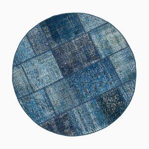 Blue Round Patchwork Carpet