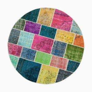 Multi-Colored Round Patchwork Carpet