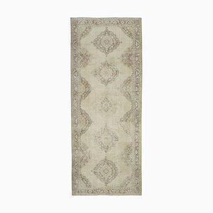 Vintage Turkish Beige Runner Carpet