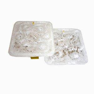 Lámparas de pared Mid-Century de cristal de hielo y latón
