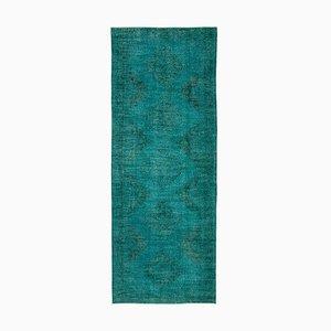 Vintage Turquoise Turkish Overdyed Runner Rug
