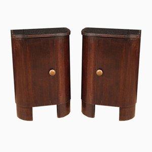 Italian Mahogany and Beech Wood Bedside Tables, 1950s, Set of 2