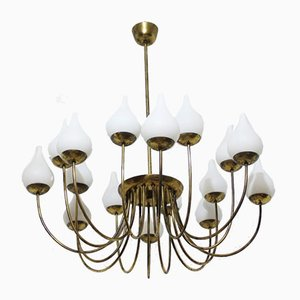 Italian Brass and Opaline Glass Ceiling Lamp, 1950s