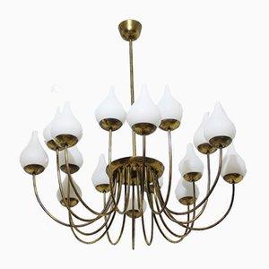 Italienische Deckenlampe aus Messing & Opalglas, 1950er