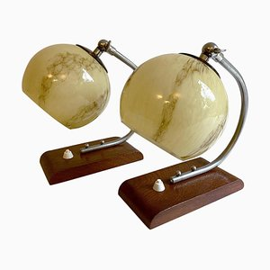 French Bauhaus Marble, Glass, Nickel, and Wood Table Lamps, Streamline Design, 1930s, Set of 2