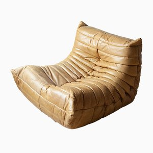 Leather Camel Brown Togo Sofa by Michel Ducaroy for Ligne Roset, 1970s
