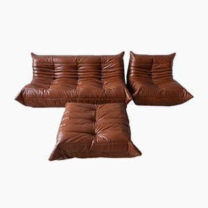 Leather Whiskey Brown Togo Living Room Set by Michel Ducaroy for Ligne Roset, 1970s, Set of 3