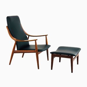 Lounge Chair and Ottoman by Peter Hvidt for France & Søn / France & Daverkosen, 1950s, Set of 2