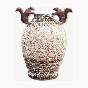 Mid-Century Keramikvase aus Bronze & Silber