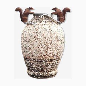 Vase Mid-Century en Bronze et en Argent en Céramique