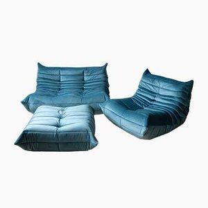 Vintage Blue Sea Togo Living Room Set by Michel Ducaroy for Ligne Roset, 1970s, Set of 3