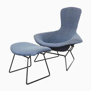 Bird Chair and Ottoman by Harry Bertoia for Knoll Inc. / Knoll International, 1970s, Set of 2